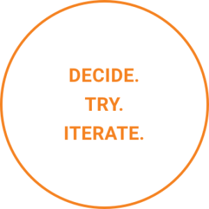 Decide. Try. Iterate.